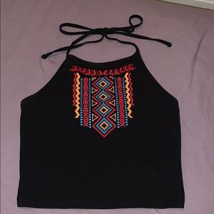 Embroided Halter Tank